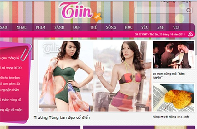 Giao diện trang www.tiin.vn.