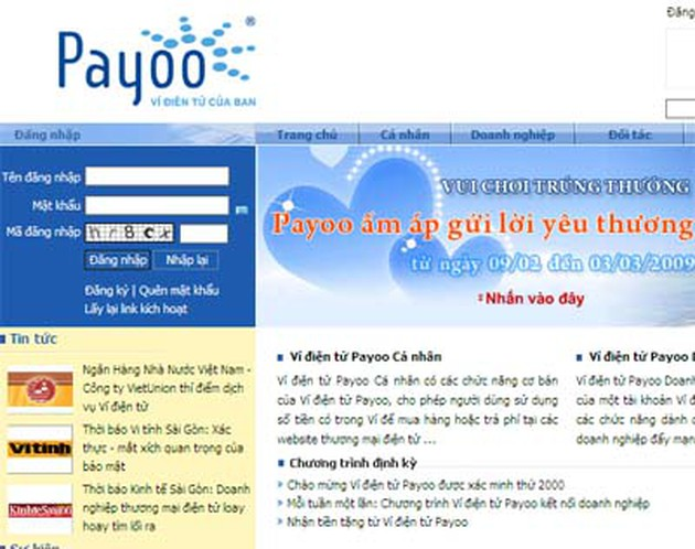 Giao diện website https://www.payoo.com.vn/