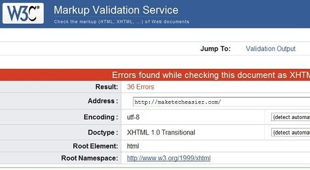 Website W3C Markup Validation Service